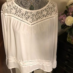 White lace top blouse